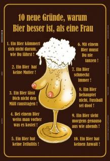 Blechschild 10 Gründe, Bier besser als Frau Metallschild Wanddeko 20x30 tin sign