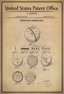 Blechschild Patent Entwurf für Bowlingkugel-Ruskin Metallschild Wanddeko 20x30 cm tin sign