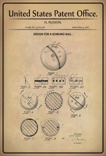 US Patent Office - Design for a Bowling Ball - Entwurf für ein Bowlingkugel - Ruskin, 1967 - Design No 3.318.598 - Blechschild