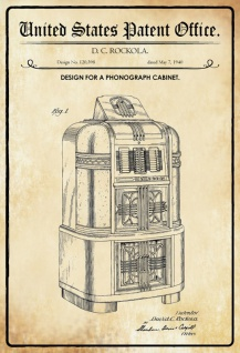 US Patent Office - Design for a Phonograph cabinet - Entwurf für einen Phonographenschrank - Rockola - 1940 - Design No 120398 - Blechschild