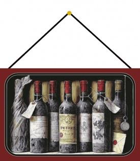 Blechschild Alte Rotwein Flaschen in Regal Metallschild Deko 20x30 mit Kordel