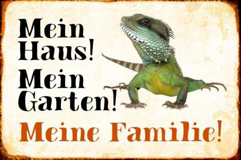 Blechschild Echse Mein Haus! Mein Garten!Metallschild Wanddeko 20x30 cm tin sign