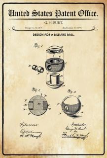 Blechschild Patent Entwurf für Billard Kugel-Burt Metallschild Wanddeko 20x30 cm tin sign