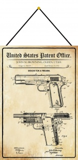 Blechschild Patent Entwurf für eine Waffe 1 Metallschild Deko 20 x 30 m.Kordel