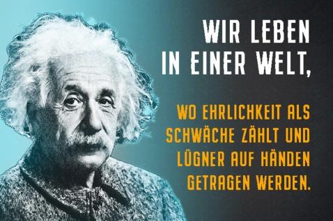 Blechschild Spruch Wir leben in einer Welt Einstein Metallschild Wanddeko 20x30 cm tin sign