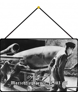 Blechschild Marschflugkörper Fi 103 V1 Metallschild Wanddeko 20x30 mit Kordel