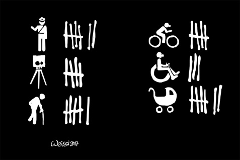 Blitzer, poliziei, fahrrad fahrer, behinderte, baby, ältere mensch blechschild, auto lustig, comic