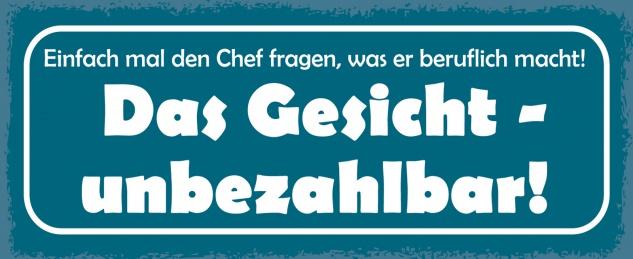 Blechschild Spruch Einfach mal den Chef fragen Metallschild Wanddeko 27x10 cm tin sign