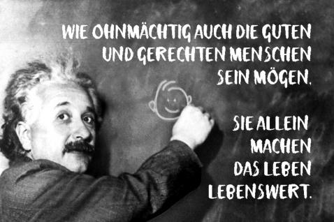 Blechschild Spruch Wie ohnmächtig auch Menschen Einstein Metallschild Wanddeko 20x30 cm tin sign