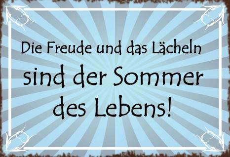 Blechschild Spruch Die Freunde und das Lächeln sind der Sommer des Lebens! Metallschild Wanddeko 20x30 cm tin sign