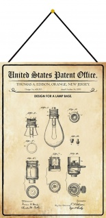 Blechschild Patent Entwurf für einen Lampensockel Metallschild 20 x 30 m.Kordel