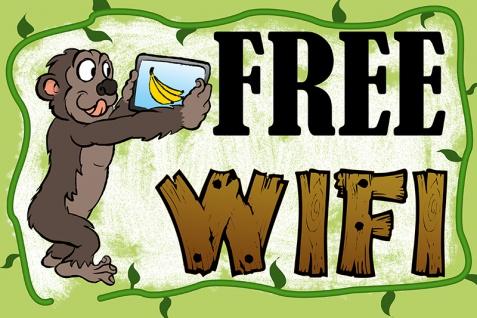 Blechschild Spruch Free Wifi kostenloses Wlan ..Affe..Metallschild Wanddeko 20x30 cm tin sign