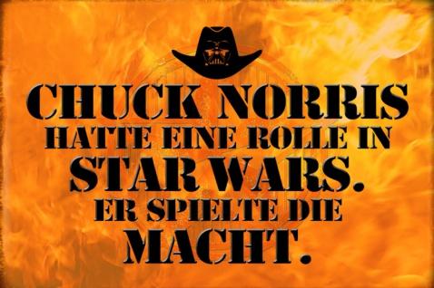 Blechschild Spruch Chuck Norris Rolle Star Wars. Metallschild Wanddeko 20x30 cm tin sign