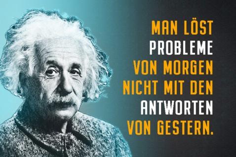 Blechschild Spruch Einstein Man löst Probleme Metallschild Wanddeko 20x30 cm tin sign