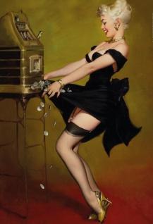 Nostalgie Pin up sexy Frau am einarmigen Bandit (Slot machine) Blechschild 20x30cm