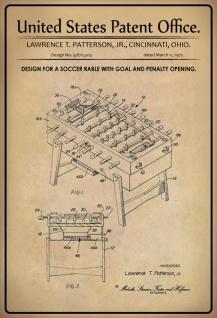 Blechschild Patent Entwurf Fußballtisch-Tor Patterson Metallschild Wanddeko 20x30 cm tin sign