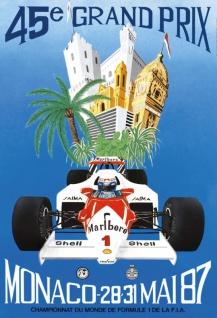Nostalgie: 45. Grand Prix Monaco 1987 Blechschild 20x30 cm