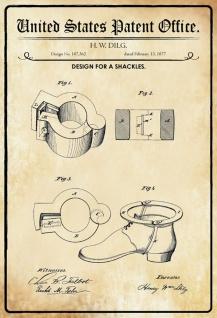 Blechschild Patent Entwurf für Shackles- Fesseln Metallschild Wanddeko 20x30 cm tin sign