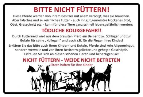 Bitte Nicht füttern! Pferd stall warnschild blechschild