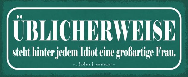 Blechschild Spruch hinter jedem Idiot eine großartige Frau 27x10 Deko tin sign