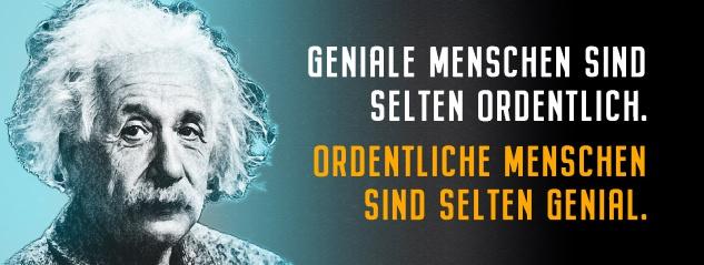 Blechschild Einstein: Geniale Menschen sind selten ordentlich Metallschild Wanddeko 27x10 cm tin sign
