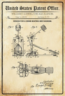 US Patent Office - Design for a drum beating mechanism - Entwurf für einen Trommelschlagmechanismus - Ludwig - 1951 - Design No 2.540051 - Blechschild