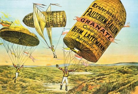 Retro: Erster lenkbarer Fallschirm Ballon Blechschild 20x30 cm