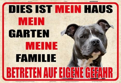 Blechschild Warnschild Mein Haus, Familie (Hund) Metallschild 20x30 tin sign