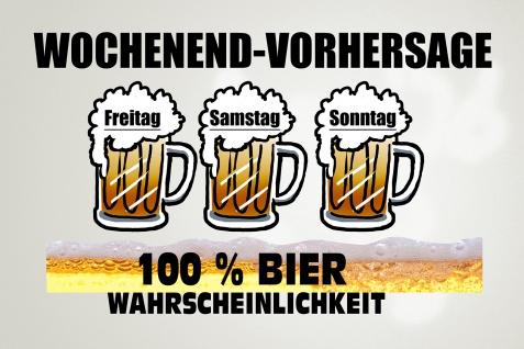 Blechschild Spruch Wochenend Vorhersage- 100% Bier Wahrscheinlichkeit Metallschild Wanddeko 20x30 cm tin sign