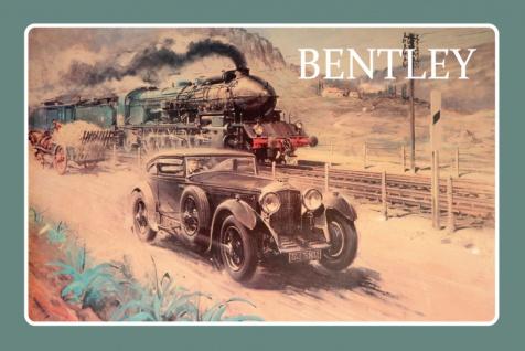 Bentley auto zug und pferd reklame blechschild