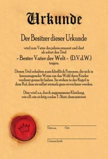 Urkunde - Bester Vater der Welt Blechschild 20x30 cm