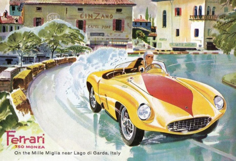 Ferrari 750 Monza Lago di Garda Italy rennauto blecschild