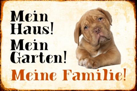 Blechschild Hund Mein Haus!Meine Familie!Bulldogg Metallschild Wanddeko 20x30 cm tin sign