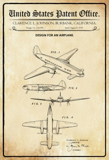 US Patent Office - Design for an Airplane - Entwurf für ein Flugzeug - Clarence L Johnson, California 1939 - Design No 116.094 - Blechschild