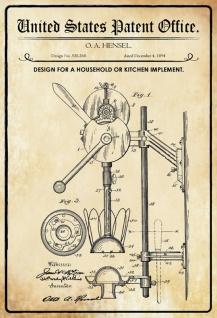 Blechschild Patent Entwurf für ein Küchengerät-Hensel Metallschild Wanddeko 20x30 cm tin sign