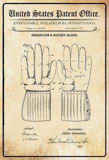 Blechschild Patent Entwurf für einen Hockey-Glove Metallschild Wanddeko 20x30 cm tin sign