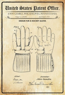 US Patent Office - Design for a Hockey Glove - Entwurf für einen Hockey Glove - Gamble - Design No 1.130895 - 1915 - Blechschild