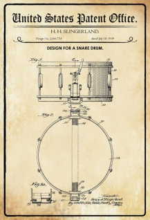 US Patent Office - Design for a Snare Drum - Entwurf für einen kleine Trommel - Slingerland - 1939 - Design No 2.166733 - Blechschild