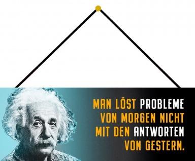 Schatzmix Blechschild Man löst Probleme von morgen Metallschild Wanddeko 27x10cm m. Kordel
