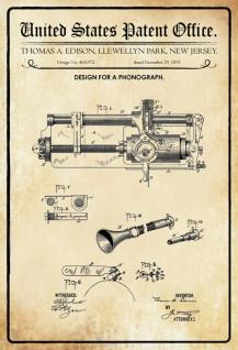 Blechschild Patent Entwurf Grammophon- Edison Metallschild Wanddeko 20x30 cm tin sign