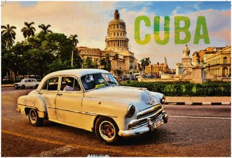 Cuba, Havana stadt, weisses auto, alte auto, blechschild