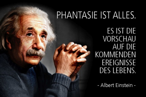 Blechschild Spruch Einstein Phantasie ist alles Metallschild Wanddeko 20x30 cm tin sign