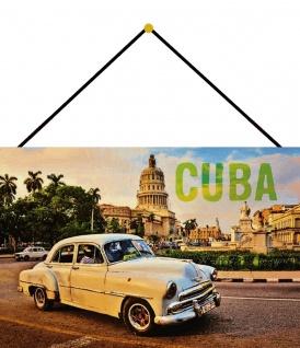 Blechschild Cuba Auto beiges Oldtimer Taxi Metallschild Deko 20x30 m.Kordel