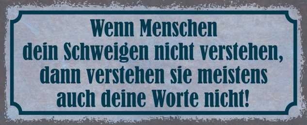 Blechschild Spruch Menschen schweigen Worte Metallschild 27x10 cm Wanddeko tin sign