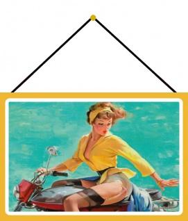 Blechschild Pinup girl auf rotem Motorrad Metallschild 20x30 Wanddeko mit Kordel
