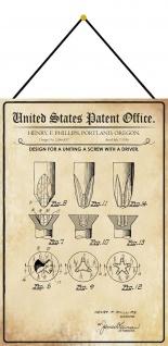Blechschild Patent Entwurf für einen Schraubenzieher Deko 20 x 30 m.Kordel