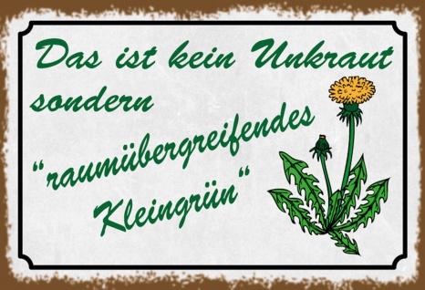 Blechschild Spruch Raumübergreifendes Kleingrün Metallschild 20x30 cm Wanddeko tin sign