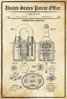 Blechschild Patent Entwurf Padlock-Vorhängeschloss Metallschild Wanddeko 20x30 cm tin sign