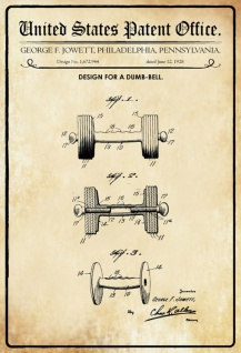 US Patent Office - Design for a Dumb-Bell - Entwurf für ein Hantel - Jowett, Pennsylvania, 1928 - Design No 1.672.944 - Blechschild