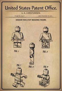 US Patent Office - Design for A Toy Building Figure - Entwurf für einen Spielzeug-Figur - Christiansen, 1979 - Design No 253.711 - Blechschild